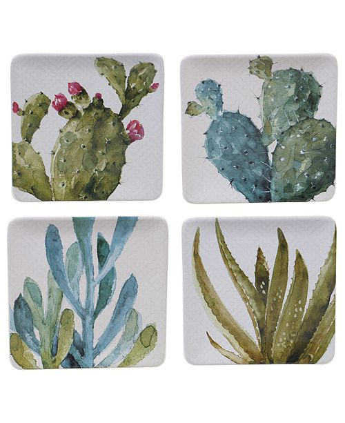 Certified International Cactus Verde 4-Pc. Square Dessert Plate