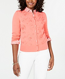 Floral-Appliqué Cardigan, Created for Macy's