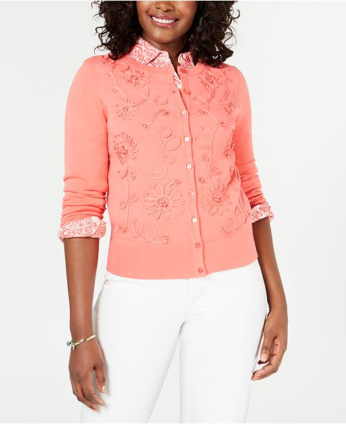 Charter Club Floral-Appliqué Cardigan, Created for Macy's