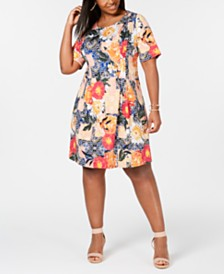 NY Collection Plus & Petite Plus Size Printed Pleated Dress