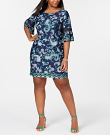 NY Collection Plus & Petite Plus Size Border-Print Bell-Sleeve Dress