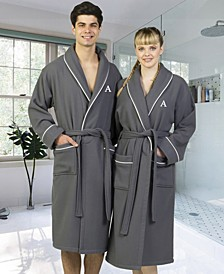 Personalized 100% Turkish Cotton Waffle Terry Bathrobe with Satin Piped Trim - Dark Gray