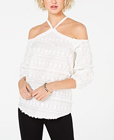 INC Embroidered Cold-Shoulder Top, Created for Macy's