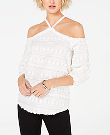 I.N.C. Embroidered Cold-Shoulder Top, Created for Macy's