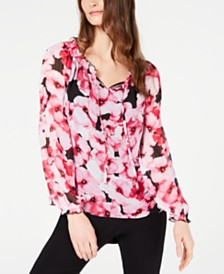 I.N.C. Floral-Print Peasant Top, Created for Macy's
