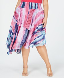 I.N.C. Plus Size Smocked Asymmetrical Skirt, Created for Macy's