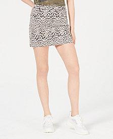 Tinseltown Juniors' Leopard-Print Denim Mini Skirt