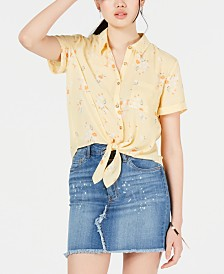 Hippie Rose Juniors' Printed Tie-Front Shirt
