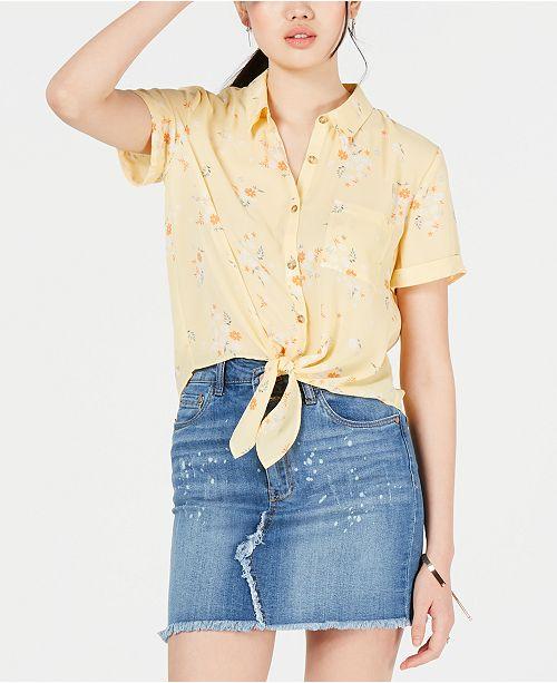 Hippie Rose Juniors' Printed Tie-Front Shirt