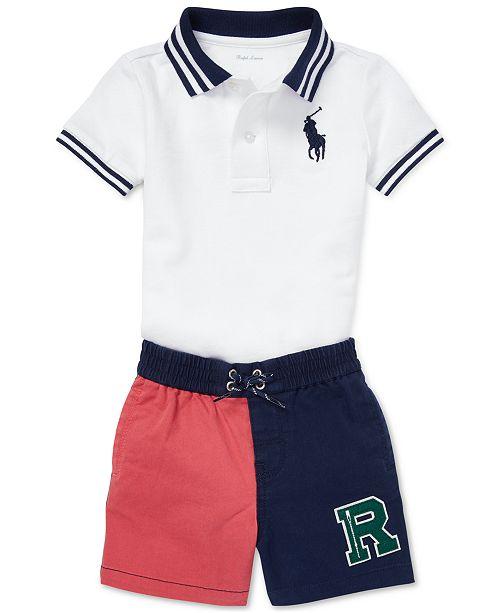 236cd9e55 Polo Ralph Lauren Baby Boys Mesh Polo & Twill Shorts Set ...