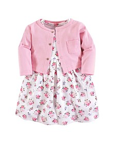 Luvable Friends Baby Girl Dress and Cardigan, 2-Piece Set, 0 Months - 5T