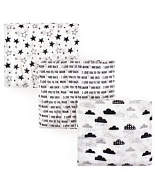 Unisex Baby Muslin Swaddle Blankets, Moon and Back 3-Pack, One Size