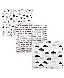 Hudson Baby Unisex Baby Muslin Swaddle Blankets, Moon and Back 3-Pack, One Size