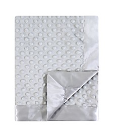 Hudson Baby Dotted Mink Blanket with Satin Binding, Gray, One Size