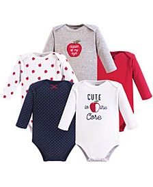 Baby Girls and Baby Boys Long Sleeve Bodysuits, 5-Pack