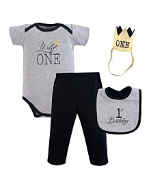 Hudson Baby Unisex Baby First Birthday Outfit, 4 Piece, 12 Months