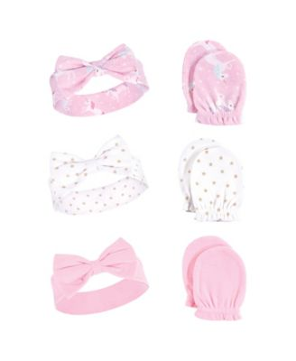 Hudson Baby Girl Headband and Scratch Mittens 6-Piece Set Bows