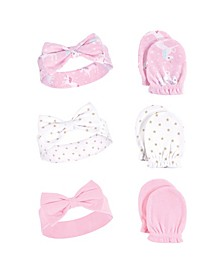 Baby Girls Headband and Scratch Mittens, 6-Piece Set