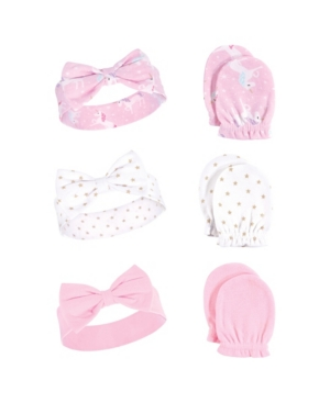 Baby Vision One Size Hudson Baby Girl Headband and Scratch Mittens, 6-Piece Set