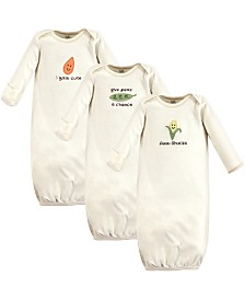 Touched by Nature Unisex Baby Gown, 3-Pack, 0-6 Months