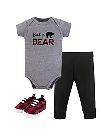 Baby Girls and Baby Boys Bodysuit, Pant and Shoes, 3-Piece Set