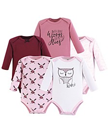 Baby Girls and Baby Boys Cotton Bodysuits, Long-Sleeve 5-Pack