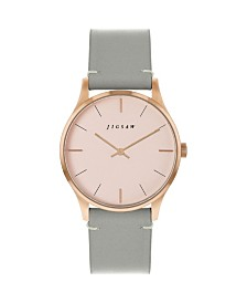 Jigsaw Ladies Watch, Round Rose Gold Stainless Steel Case, Rose Gold Dial, Grey Genuine Leather Strap