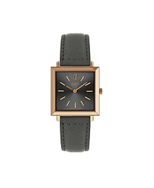 Heritage Square Rose Gold Stainless Steel Case Gray Dial and Gray Leather Strap