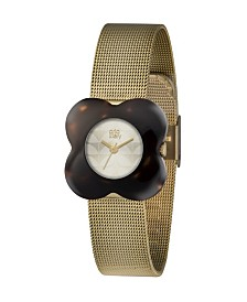 Orla Kiely Watch, Gold Plated Mesh Bracelet With Slider