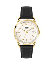 Westminster Unisex 39mm Black Leather Strap Watch with Gold Stainless Steel Casing