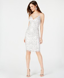 Vince Camuto Sequined Embroidered Sheath Dress