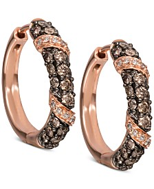 Le Vian Chocolatier® Diamond Hoop Earrings (1 ct. t.w.) in 14k Rose Gold
