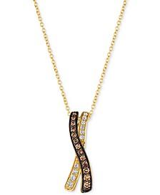 "Chocolatier® Diamond 18"" Pendant Necklace (1/4 ct. t.w.) in 14k Gold"