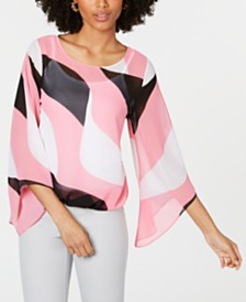 Alfani Petite Printed Bubble Top, Created for Macy's