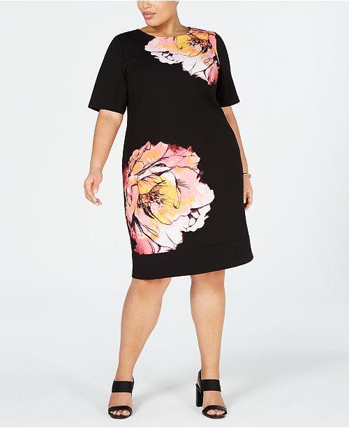 Alfani Plus Size Printed Sheath Dress, Created for Macy\'s ...