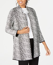 Alfani Textured Jacquard Open-Front Jacket, Created for Macy's