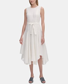 Calvin Klein Eyelet Handkerchief-Hem Sleeveless Dress