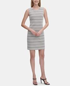 Calvin Klein Geo-Striped Jacquard Sheath Dress