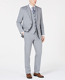 by Andrew Marc Men's Modern-Fit Sharkskin Vested Suit