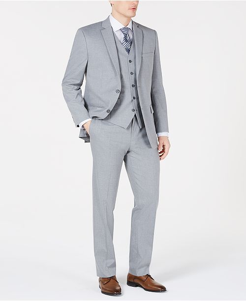 Marc New York by Andrew Marc Men's Modern-Fit Sharkskin Vested Suit