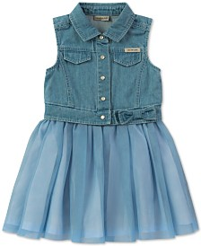 Calvin Klein Baby Girls Denim Tulle Dress