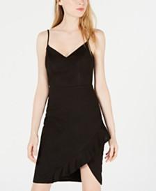 City Studios Juniors' Ruffled Asymmetrical-Hem Bodycon Dress