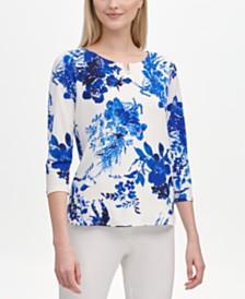 Calvin Klein Floral-Print Notched-Neck Top