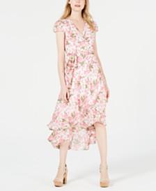 Betsey Johnson Petite Floral Wrap Midi Dress
