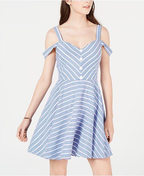 cfd4ee019090 ... City Studios Juniors' Striped Cold-Shoulder Fit & Flare Dress ...
