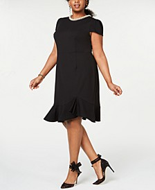 Plus Size Pearl-Trimmed Flounce-Hem Dress