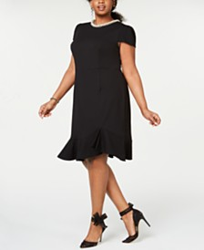Betsey Johnson Plus Size Pearl-Trimmed Flounce-Hem Dress