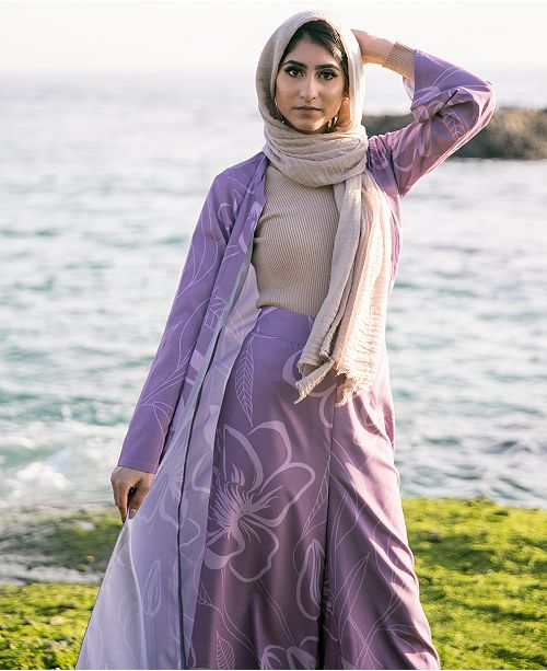 Verona Collection Printed Open-Front Maxi Cardigan
