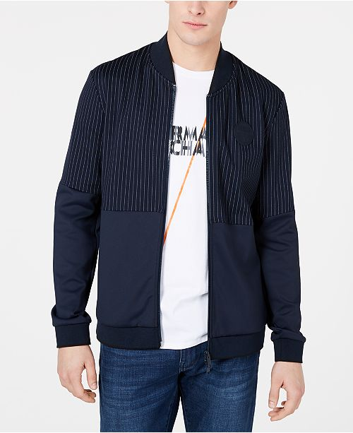 A|X Armani Exchange Men's Zip-Front Pinstripe Bomber Jacket
