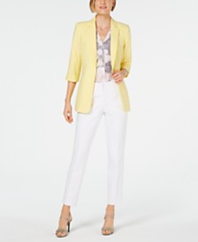 Calvin Klein Petite Roll-Tab Jacket, Printed Top & Cotton Pants